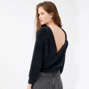 Urban Outfitters Black Fuzzy Elsa Low Back Sweater